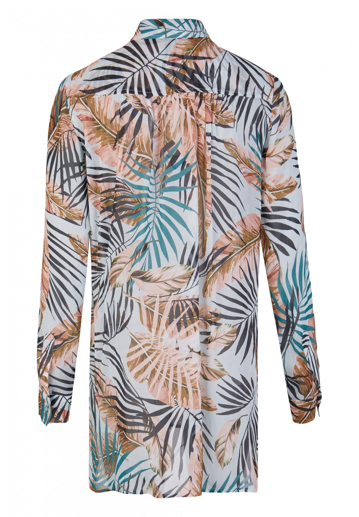 Trendige Longbluse mit All-over-Palmenprint / Long Blouse