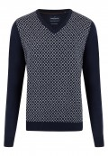 Pullover col V laine et cashemere corps fantaisie