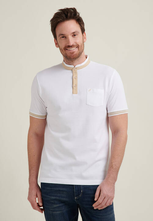 POLO PIQUEE STAND UP, white