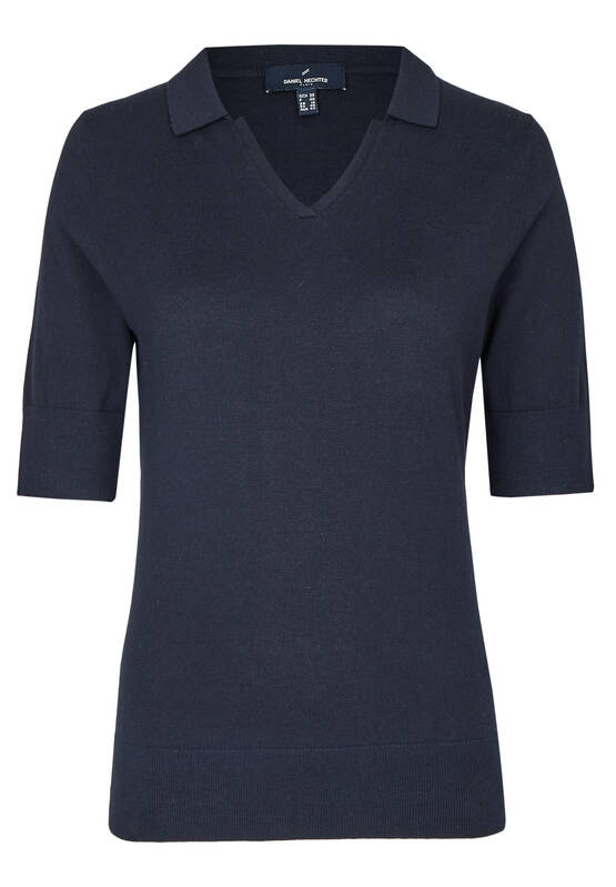 sportives shirt mit v ausschnitt midnight blue daniel. Black Bedroom Furniture Sets. Home Design Ideas